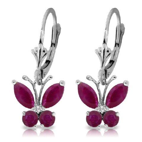 .85ct & .39ct Ruby Butterfly Dangle Earrings in 14k WG