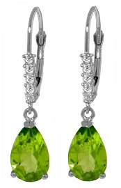 14k WG 3.00ct Peridot with Diamond Leverback Earrings