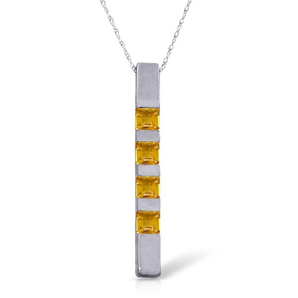14k Solid Gold 0.35ct Citrine Bar Necklace