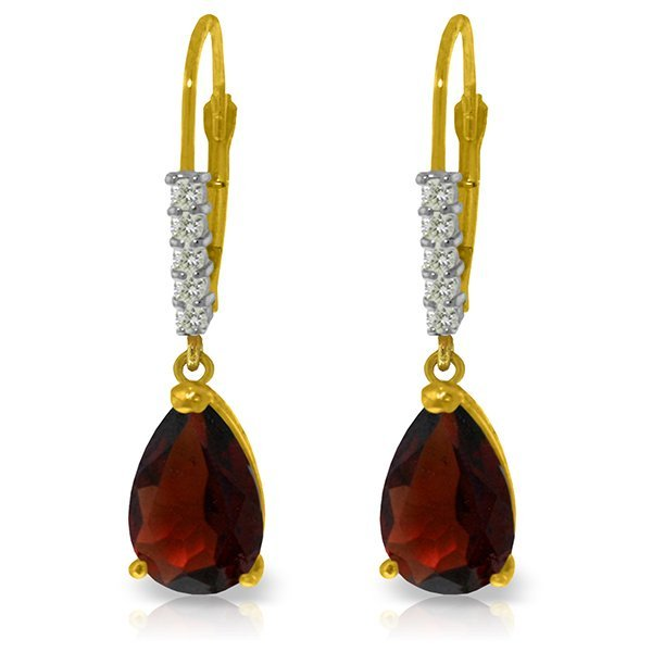 14 YG 3.0ct Garnet & Diamond Leverback Earrings