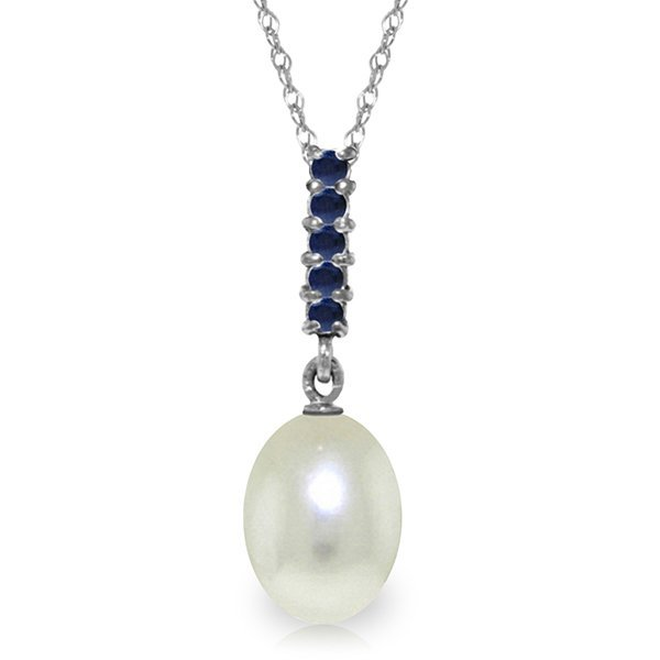 14K White Gold 4.0ct Pearl & .20ct Sapphire Drop