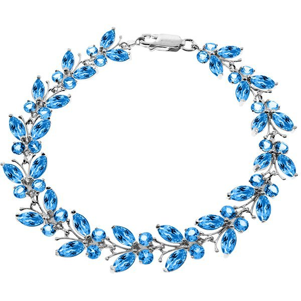 14k 11.80gr Solid Gold Blue Topaz Butterfly Bracelet