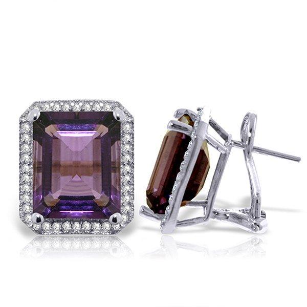 11.6ct 14k White Gold Amethyst Diamond Earrings