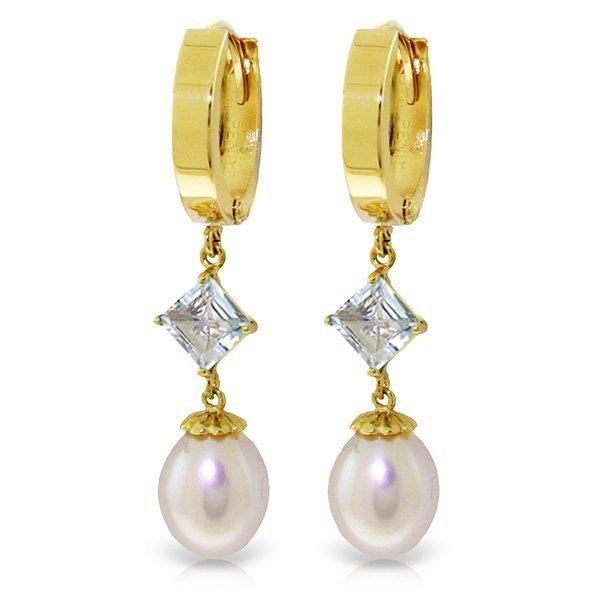14k Solid Gold 1.50ct Aquamarine & Pearl Earrings