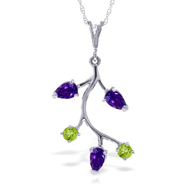 14k Solid Gold Amethyst & Peridot Necklace