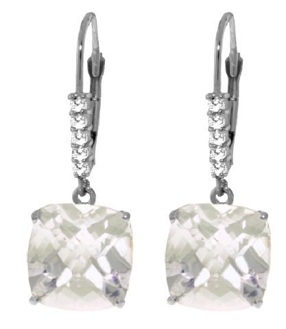 14k WG Diamond & 7.20ct White Topaz Earrings