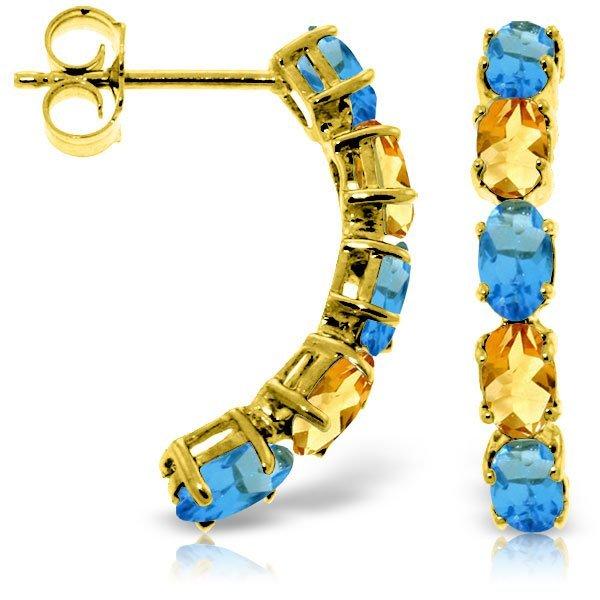 14k Solid Gold Blue Topaz & Citrine Earrings