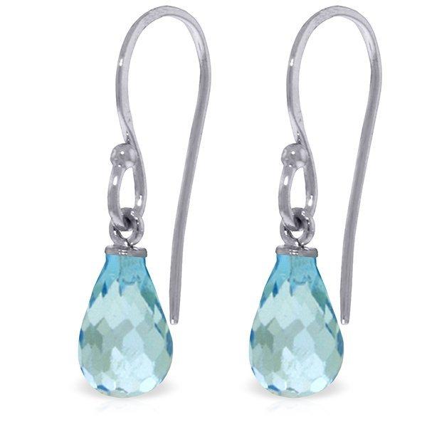 14k White Gold 2.70ct Blue Topaz Fish Hook Earrings