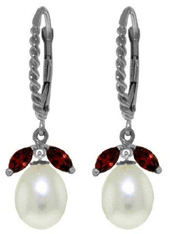 14k WG 8.00ct Pearl & 1.00ct Garnet Leverback Earrings