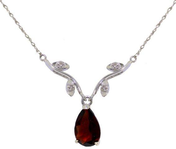 14k WG  Elegant 1.5ct Garnet & .02ct DIAMOND Necklace