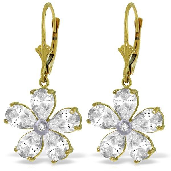 14k Solid Gold White Topaz & Diamond Earrings