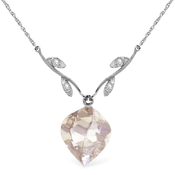 14k WG 12.80ct White Topaz & Diamond Necklace