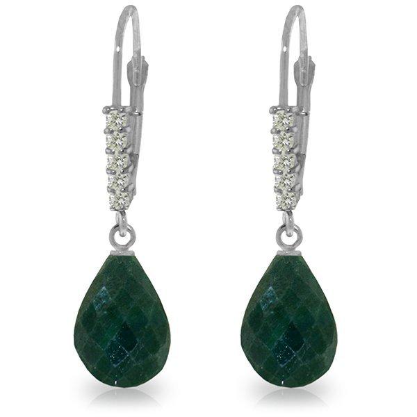 14K White Gold 17.60ct Emerald & Diamond Earring