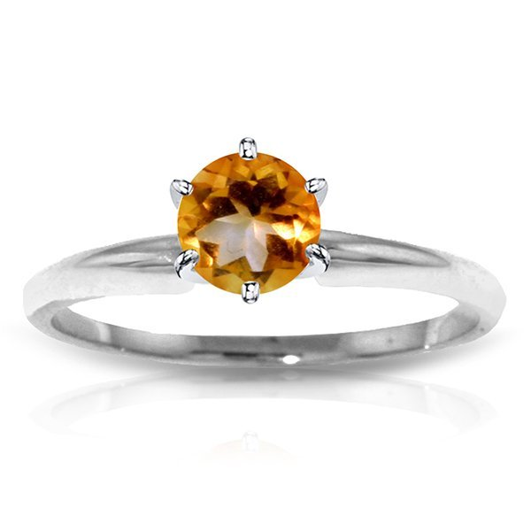 14k WHITE GOLD 0.65ct Citrine Solitaire Ring