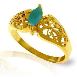 14K Solid Gold .20ct Emerald FILIGREE Ring