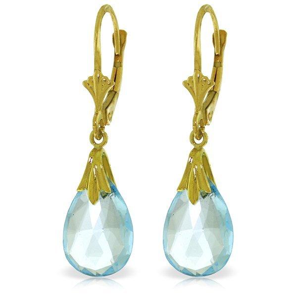 14k Solid Gold 6.0ct Blue Topaz Drop Earrings