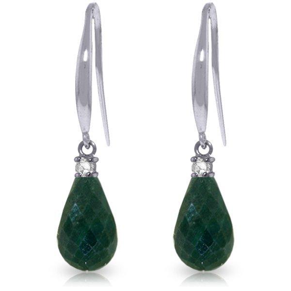 14K White Gold 6.60ct Emerald & Diamond Hook Earring