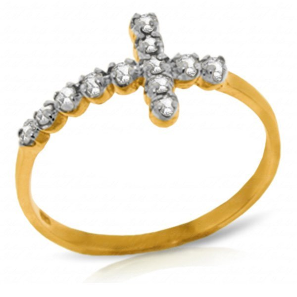 Diamond Cross Ring in 14k Yellow Gold