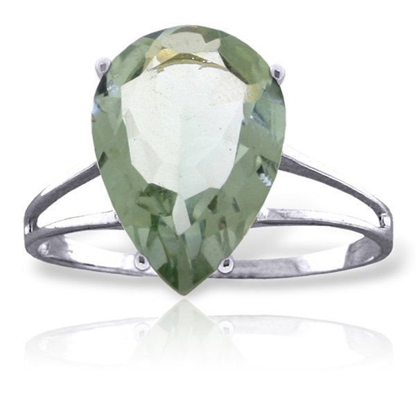 14k Solid Gold 5.0ct Green Amethyst Ring