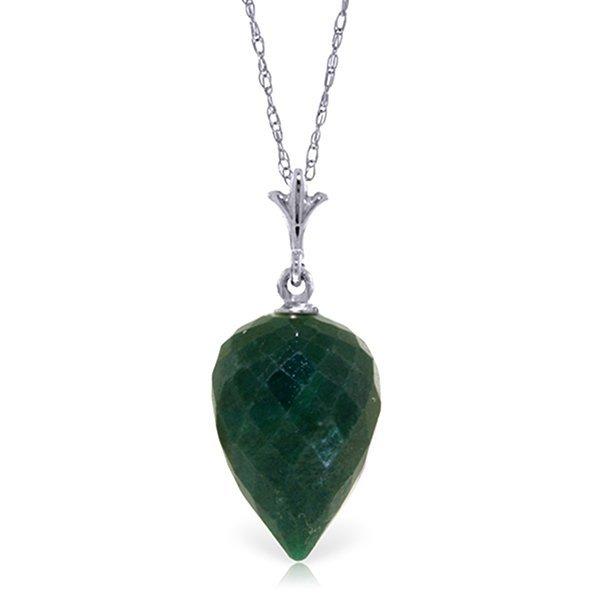 14K White Gold 12.9ct Pointy Briolette Emerald Necklace