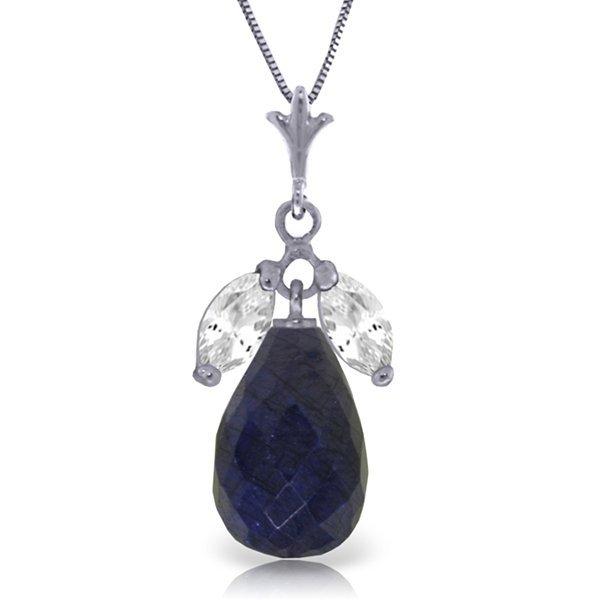 14k WG White Topaz & 8.80ct Sapphire Necklace