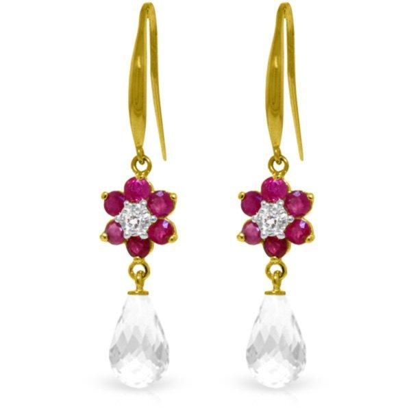14k YG Ruby, White Topaz & Diamond Earrings