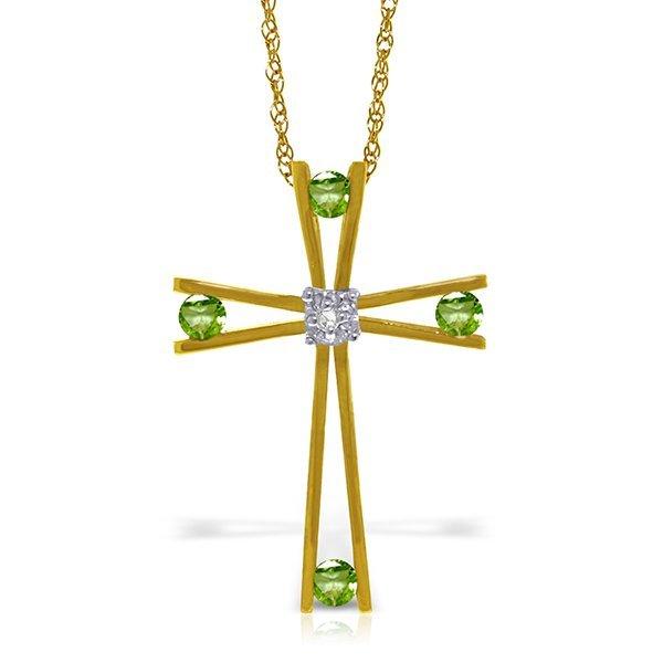 14K Solid Gold .40ct Peridot & Diamond Cross Necklace