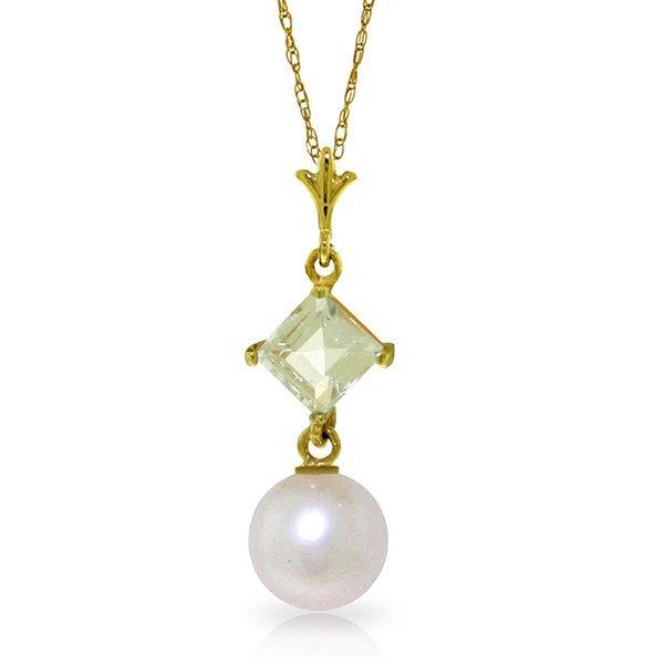 14k YG Pearl & 0.50ct Aquamarine Necklace