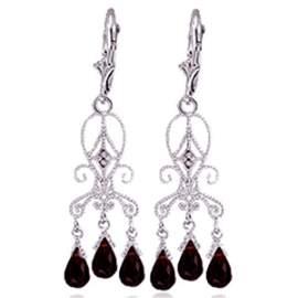 14K White Gold 6.30ct Garnet & Diamond Earring