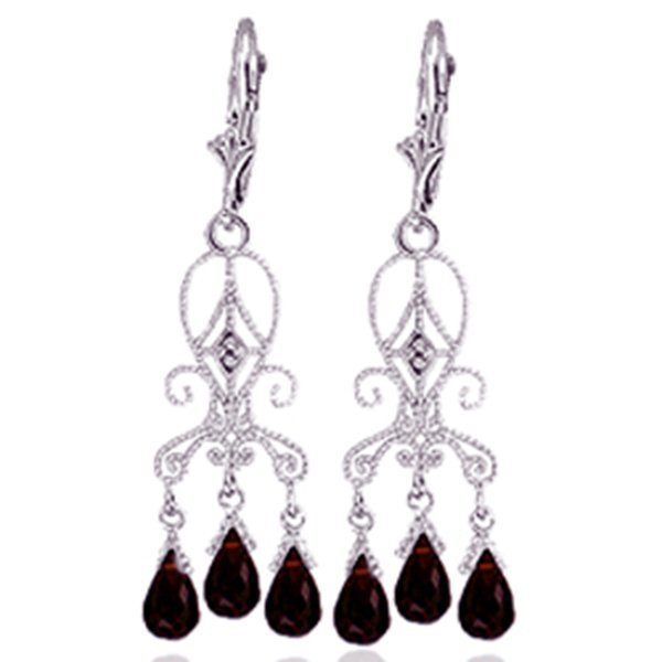 14K White Gold 6.30ct Garnet & Diamond Earring