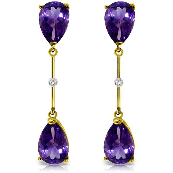 14K Solid Gold 6.0ct Amethyst & Diamond Earring