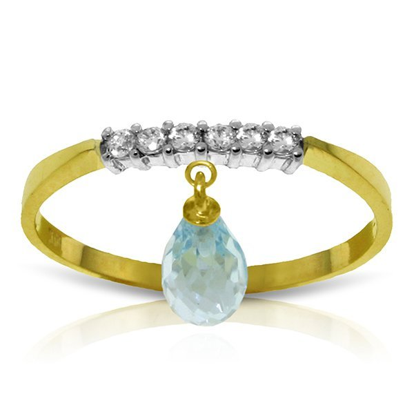 14k Solid Gold 1.35ct Blue Topaz & Diamonds Ring
