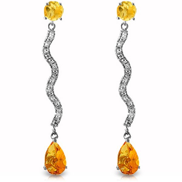 14k WG Citrine & Diamond Drop Earrings