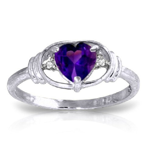 14K WG DIAMONDS & .95ct HEART CUT AMETHYST RING