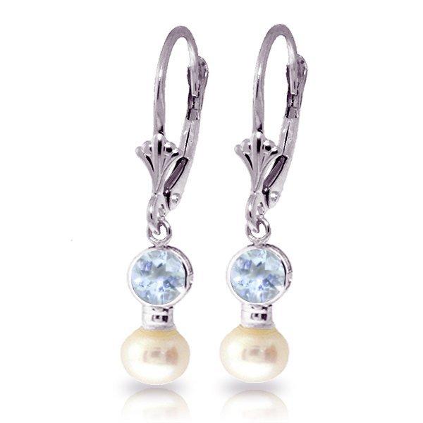 14k WG 1.5ct Freshwater Pearl&1.2ct Aquamarine Earring