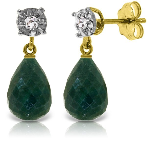 14K Solid Gold 17.60ct Emerald & Diamond Stud Earring