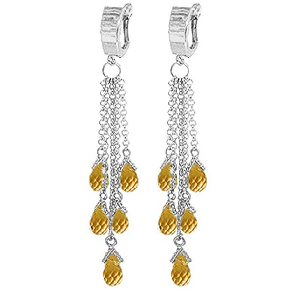 14K White Gold 7.30ct Citrine Chandelier Earring