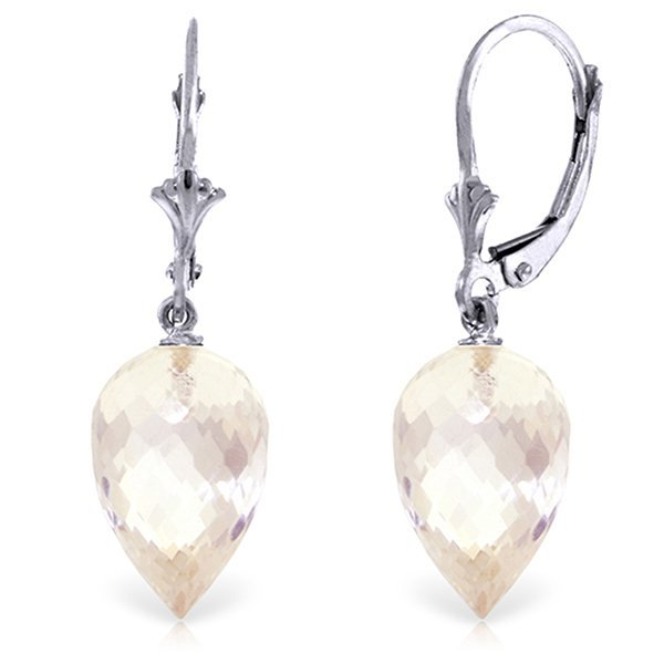 14k WG 24.50 White Topaz Briolette Earrings
