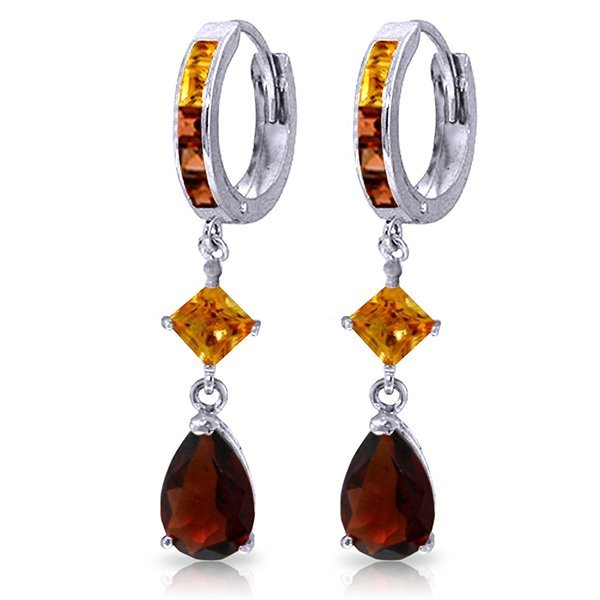14K White Gold 3.0ct Garnet & 1.3ct Citrine Earring