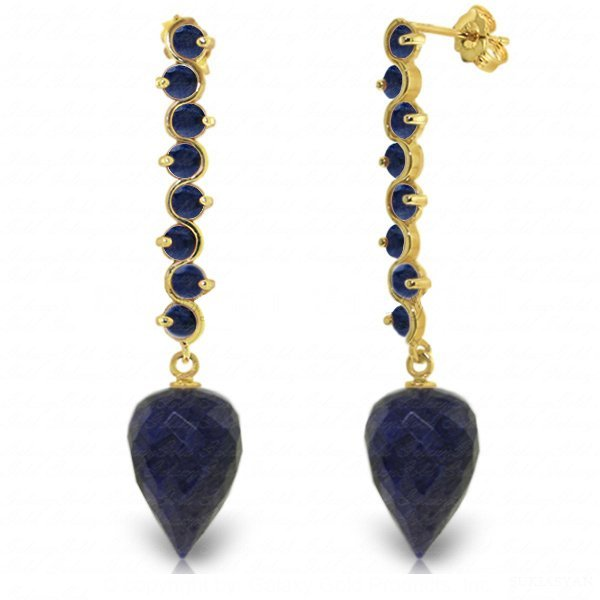 14K Solid Gold 26.10ct & 3.10ct Sapphire Drop Earring