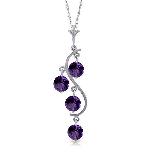 14K WG 2.25ct ROUND SHAPE AMETHYSTS NECKLACE