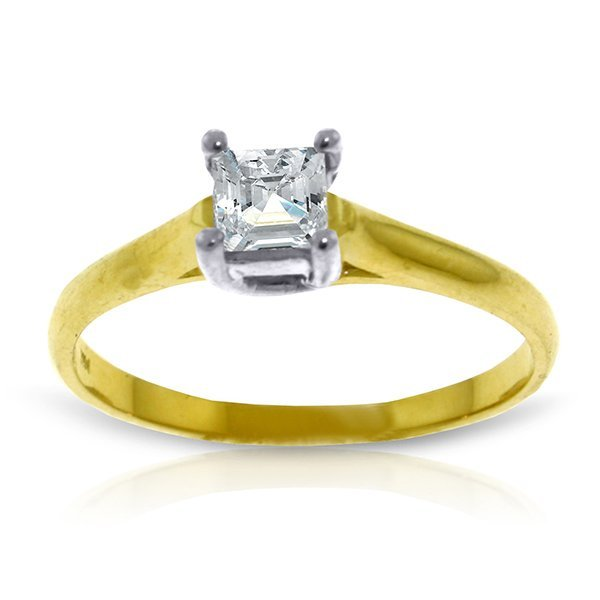 14k YG 0.50ct, K-M, I3 Princess cut Diamond Ring