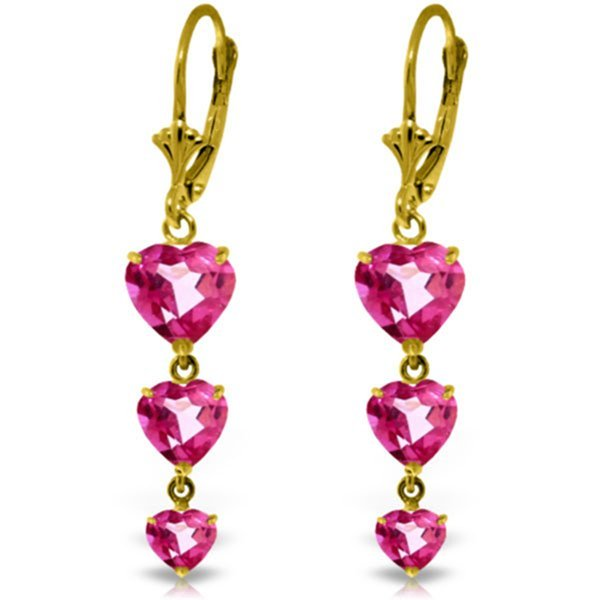14K Solid Gold 3.0ct 1.75ct & 1.25ct Pink Topaz Earring