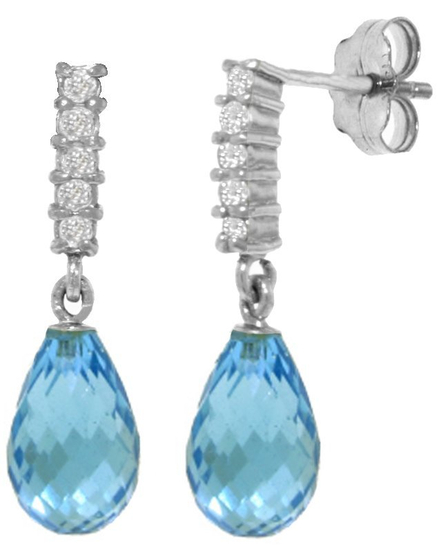 Blue Topaz Earrings with Diamond Accent in 14k Gold