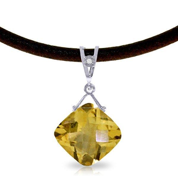 14K White Gold 8.75ct Citrine & Diamond Necklace