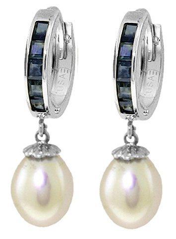 14K White Gold 8.00ct Pearl & 1.30ct Sapphiire Earring