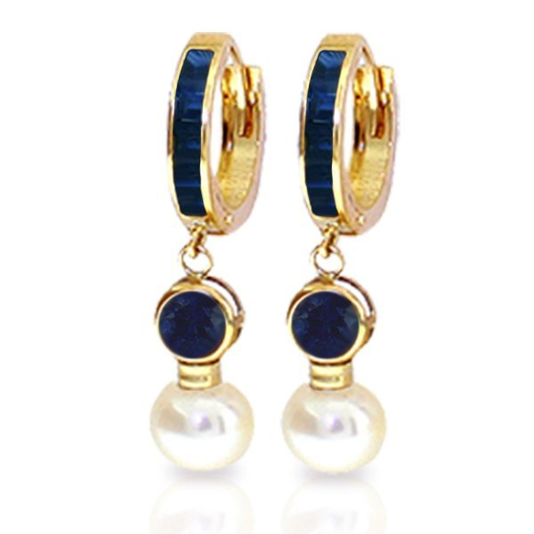 14K Solid Gold 4.0ct Pearl & 1.35ct 1.3 Sapphire