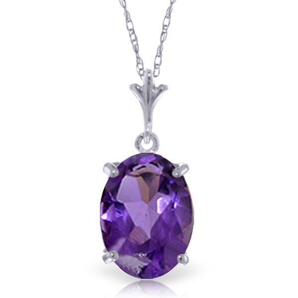 14k Solid Gold 3.12ct Oval Amethyst Necklace
