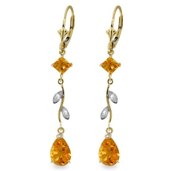 14k YG 3.95ct Citrine & 0.02ct Diamond Earrings