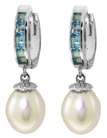 14K White Gold 8.00ct Pearl & 1.30ct Blue Topaz Earring
